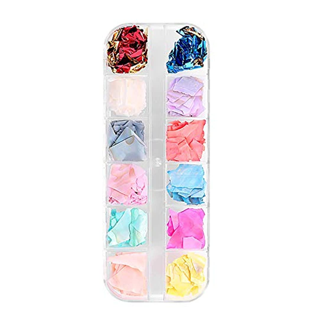 報奨金アヒル毛皮TOOGOO 12色/ボックスシェル砕石砂利フレークナチュラル壊れた3D美容マニキュアDIYのネイルアートデコレーション女性のファッション01