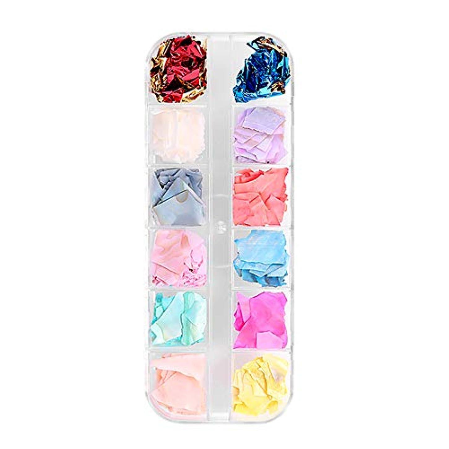 山責バイオレットTOOGOO 12色/ボックスシェル砕石砂利フレークナチュラル壊れた3D美容マニキュアDIYのネイルアートデコレーション女性のファッション01