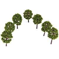 ノーブランド品 80本 1/250 樹木モデル 鉄道風景 電車模型用 ツリー アクセサリー 全3色選べ - ディープグリーン