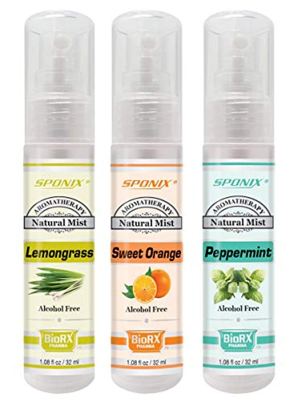 トーンチラチラするブレーキトップアロマテラピーミストセット - ベスト3香料入りミスト - レモングラス、ユーカリ、ペパーミント - アルコールフリー1ポンドスポンジ