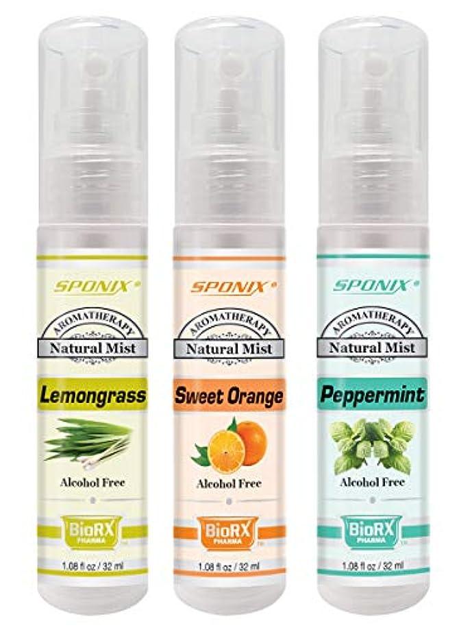 間違えた主流話をするトップアロマテラピーミストセット - ベスト3香料入りミスト - レモングラス、ユーカリ、ペパーミント - アルコールフリー1ポンドスポンジ