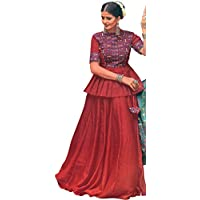 Exotic India Rococco-Red Lehenga Choli from Gujarat with Embroidered Peacocks and Mirrors