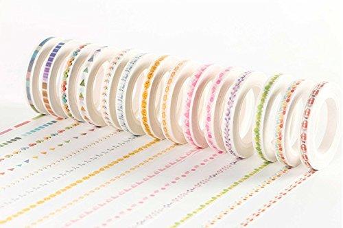水彩風 スリム マスキングテープ 大量 8巻 セット / かわいい カラフル ポップ 手書き風 マステ まとめ買い