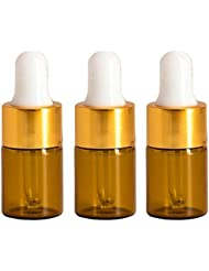 Furnido 15 pieces Mini Amber Glass Bottle with White Glass Pipette Dropper Rubber &Gold caps for Small Portable...