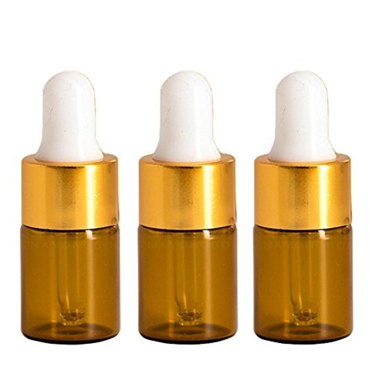 独裁者ペグ蚊Furnido 15 pieces Mini Amber Glass Bottle with White Glass Pipette Dropper Rubber &Gold caps for Small Portable...