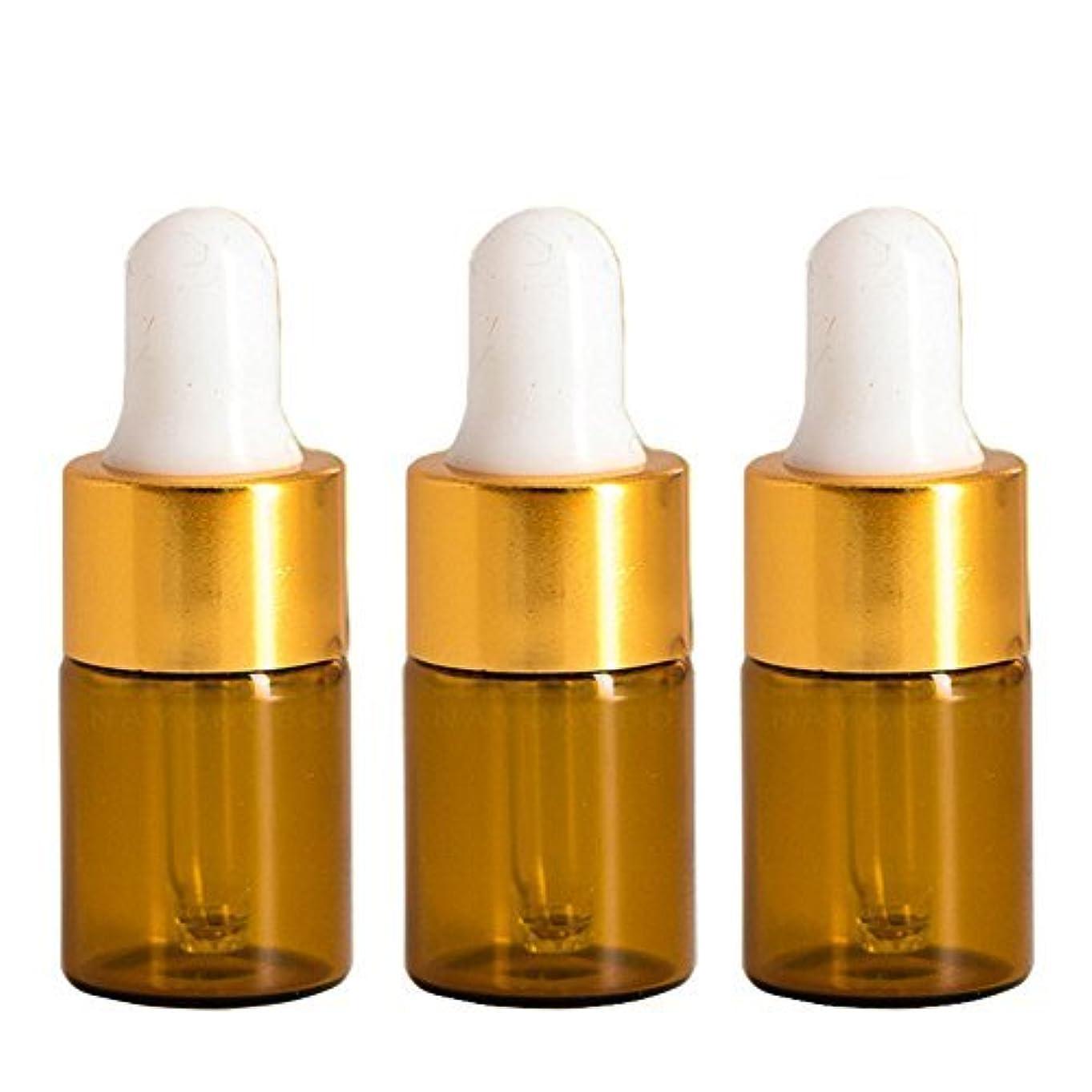 どう?精緻化共和国Furnido 15 pieces Mini Amber Glass Bottle with White Glass Pipette Dropper Rubber &Gold caps for Small Portable...