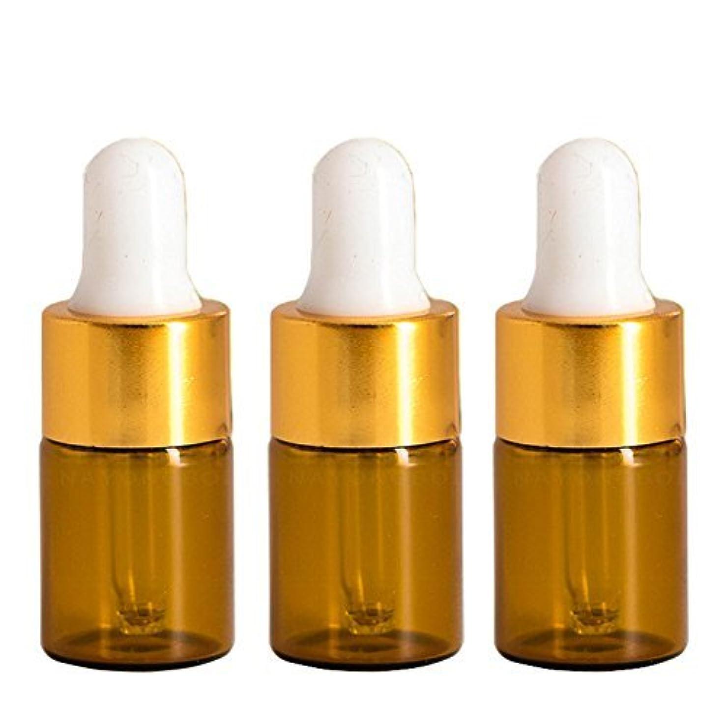 誰かマニアックベリFurnido 15 pieces Mini Amber Glass Bottle with White Glass Pipette Dropper Rubber &Gold caps for Small Portable...