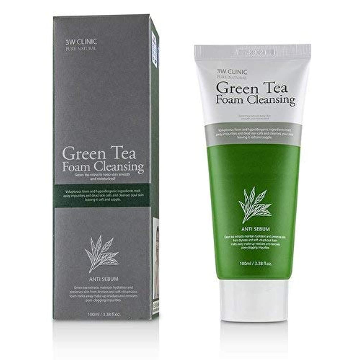 地中海おしゃれな寛大さ3Wクリニック Green Tea Foam Cleansing 100ml/3.38oz並行輸入品