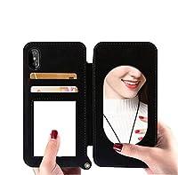 Iphone XS MAXの場合、調節可能なストラップアクリルメッキミラーカードスロットフリップケースiphone XS MAXの女性のための曇らされたソフトTPUケース,Black,iPhoneXR