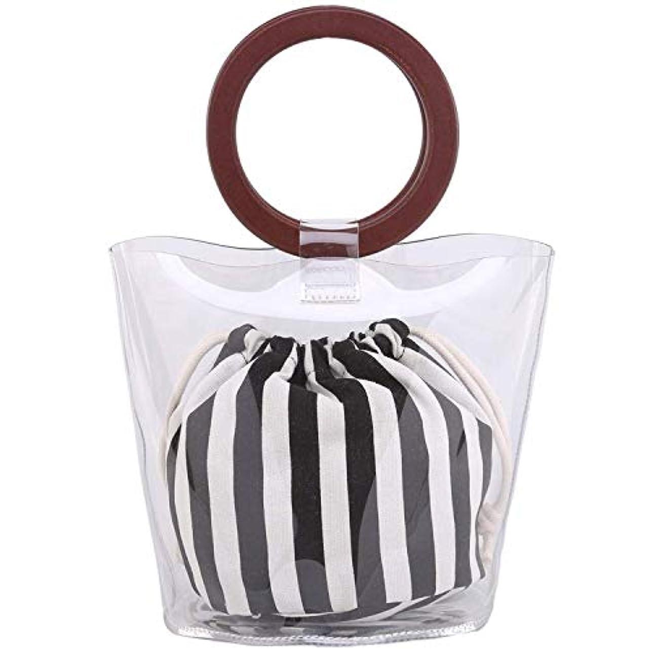 血色の良いと組むリベラルSODIAL レディースPVC +キャンバス財布とハンドバッグバケットバッグ仕事に適用(透明色+ホワイト+ブラック)