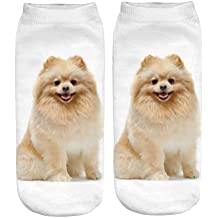 Junshion Women 3D Cartoon Socks Funny Crazy Cute Dog Happy Novelty Print Ankle Low Cut Sock Home Leisure Sox for Valentine's Day Gift