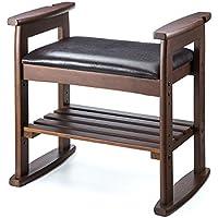 サンワダイレクト 玄関椅子 スツール ベンチ チェア 腰かけ 靴・杖・スリッパ 収納 ブラウン 150-SNCH010