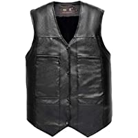 BOZEVON Man Waistcoat - PU Leather Vest for Men Winter Thick Business Jacket