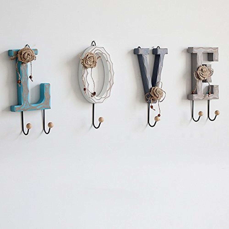 アメリカの国の木製のコートフック、ドアの入り口のキーフック、ウォールコートの帽子ラック、壁掛け ( 色 : A )