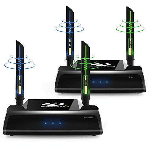 PAKITE PAT-590 ワイヤレスHDMI送受信機セット WUXGA/3D映像/1080P対応 最大150m無線伝送可能 赤外線リモコン対応 映像と音声を無線転送 受信機側リモコン操作 簡単接続