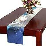 GGSXD テーブルランナー 幼い ブルー猫 クロス 食卓カバー 麻綿製 欧米 おしゃれ 16 Inch X 72 Inch (40cm X 182cm) キッチン ダイニング ホーム デコレーション モダン リビング 洗える