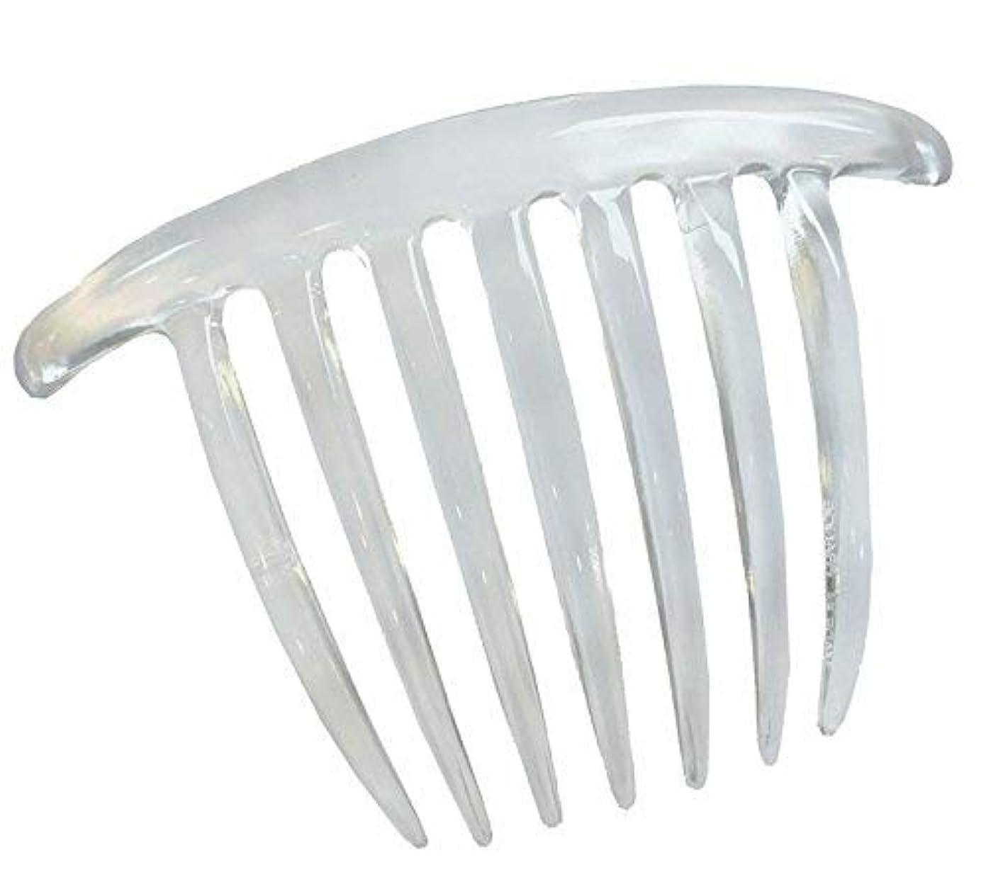 湿原洗剤受賞Parcelona French Twist 7 Teeths Large Celluloid Clear Hair Side Comb (Clear) [並行輸入品]
