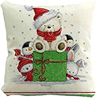 クリスマスピローケースかわいい雪だるらプリンティング染色ソファベッドホームインテリアピローケースXmas 45x45cmスクエアフラックスクッションカバー,45x45cm, F