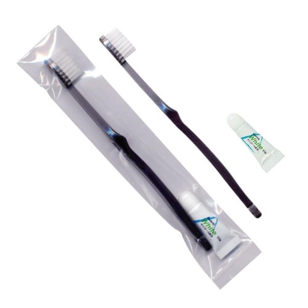 構造的下る剪断ホテル業務用歯ブラシ28穴(スモーク)3.5gチューブ OP袋Sタイプ 50本