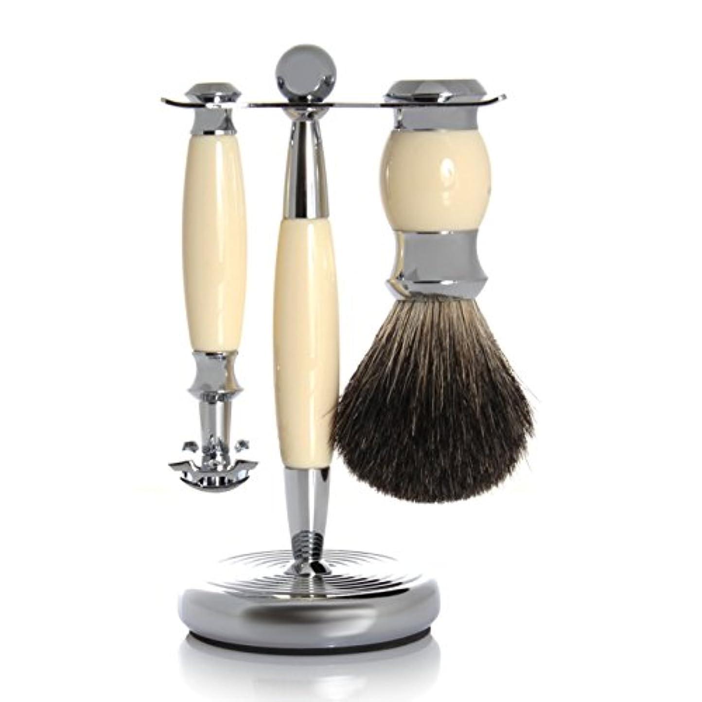 引用シエスタ八GOLDDACHS Shaving Set, Safety Razor, 100% badger hair, white/silver