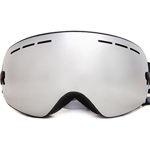 Beniceダブルレンズスノーボードスキーゴーグルスキーメガネ光学互換性100?% UV保護曇り止め シルバー SNOW-3107
