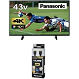 パナソニック 43V型 4K 液晶テレビ ビエラ TH-43FX500+HDMIケーブル 1.5m RP-CHK15-K