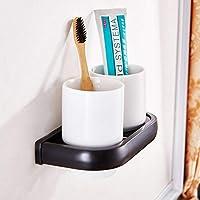 KDFHGLA ヨーロッパ浴室浴室付属品歯ブラシカップホルダーマグカップホルダー真鍮黒アンティークダブルカップホルダーセラミックカップホルダー