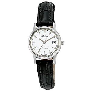 [シチズン キューアンドキュー]CITIZEN Q&Q 腕時計 Falcon ファルコン アナログ 革ベルト 日付 表示 ホワイト D019-301 レディース