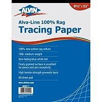 "Alvin 6855/P-6 18"" x 24"" Cotton Rag Tracing Paper Pad"
