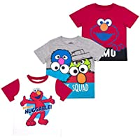 Sesame Street Elmo Boys' Short Sleeve T-Shirt (Pack of 3)