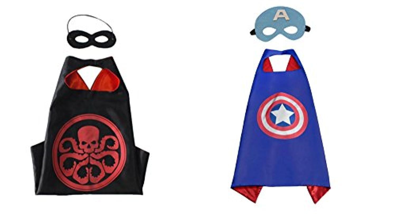 Hydra &キャプテンアメリカコスチュームケープ – 2種、2マスクW /ギフトボックスbyスーパーヒーロー