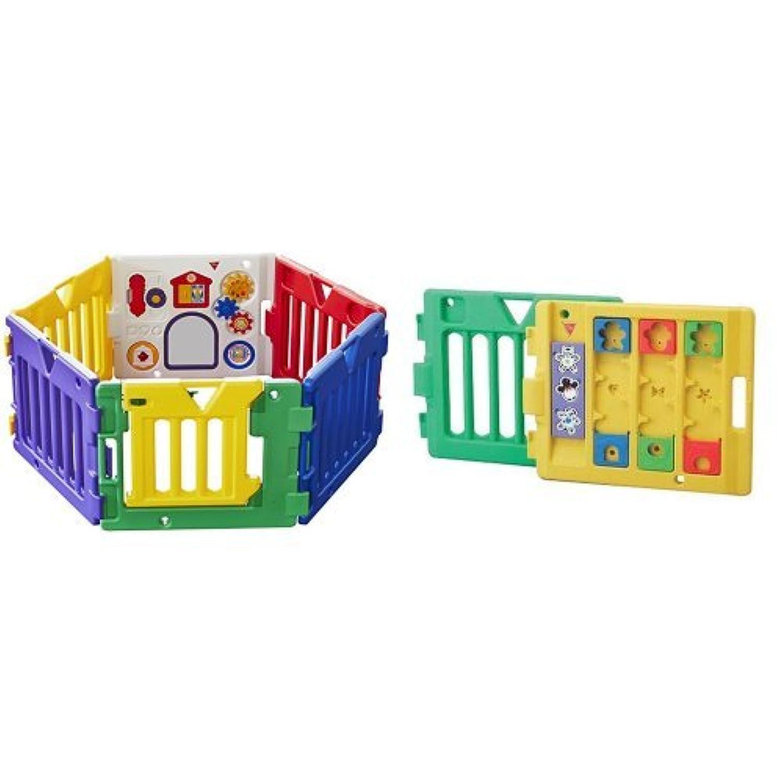 【セット買い】日本育児 ベビーサークル ミュージカルキッズランド DX 6ヶ月~3歳半対象 おもちゃパネル付のベビーサークル+拡張フレーム