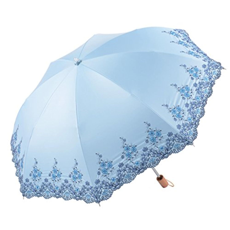 ツイスト刺繍傘ビニール日焼け止め抗UV日傘折りたたみパラソル多色オプション ズトイビー (Color : #3)