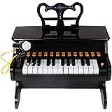 Xyanzi 子どもおもちゃ 子供の多機能ピアノ、子供のためのマイクロフォン子供のキーボードが付いている25のキーのピアノキーボードのおもちゃ (色 : ブラック)