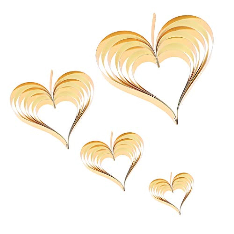Baoblaze ハートペーパー  心形 ツリー装飾 バナー ロープ付き DIY 4色選べ - ゴールドイエロー
