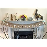 HAPPY EASTER Burlap Banner Garland - Bunny Rabbit & Fluffy Tail Design - Ready to Hang Wall Decor - Complete with Hanging Ribbon Decoration - by Jolly Jon Products