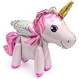 ライフ小屋 風船 バルーン 動物 ユニコーン型 立体 3D ホイルバルーン 子供おもちゃ パーティー小物 女の子 誕生日パーティー size 58×55cm (ピンクの羽)