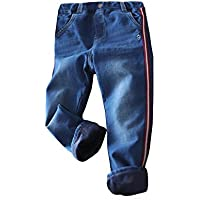 Abalacoco Boys' Kids Winter Thick Fleece Pants Thermal Pull-On Soft Pants Stretch Waist Trousers Jeans Look