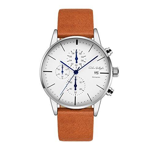[Adam Gallagher] 腕時計 メンズ 防水 ホワイト文字盤 クロノグラフ ウオッチ 日付カレンダー アナログ時計 レザーバンド 男性(Orange)