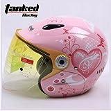 TankedRacingT523 ジェットヘルメット ジェット おしゃれ バイクヘルメット TankedT523 Tanked Racing T523 bike helmet バイク用品 内装洗濯可能 おすすめ シールド付 レディース メンズ (サイズM:55cm-57cm)