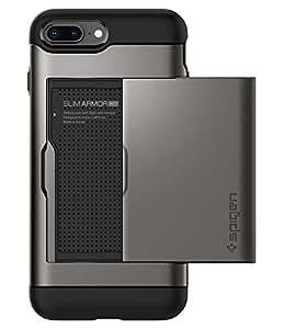 【Spigen】 iPhone8 Plus ケース / iPhone7 Plus ケース 対応 MIL規格取得 ICカード収納 スリム・アーマー CS 043CS20526 (ガンメタル)