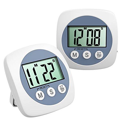 キッチンタイマー 大画面 デジタルタイマー 時分秒設定 ホワイト 電池式 マグネット付き/スタンド/壁掛け(2個セット)