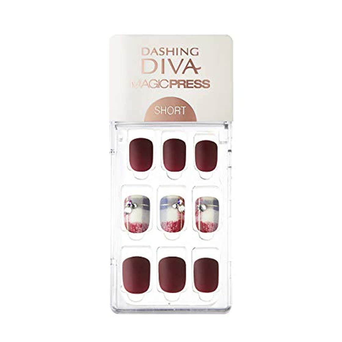 剛性傾く蓄積するダッシングディバ マジックプレス DASHING DIVA MagicPress MDR227SS-DURY+ オリジナルジェル ネイルチップ Vintage Burgundy
