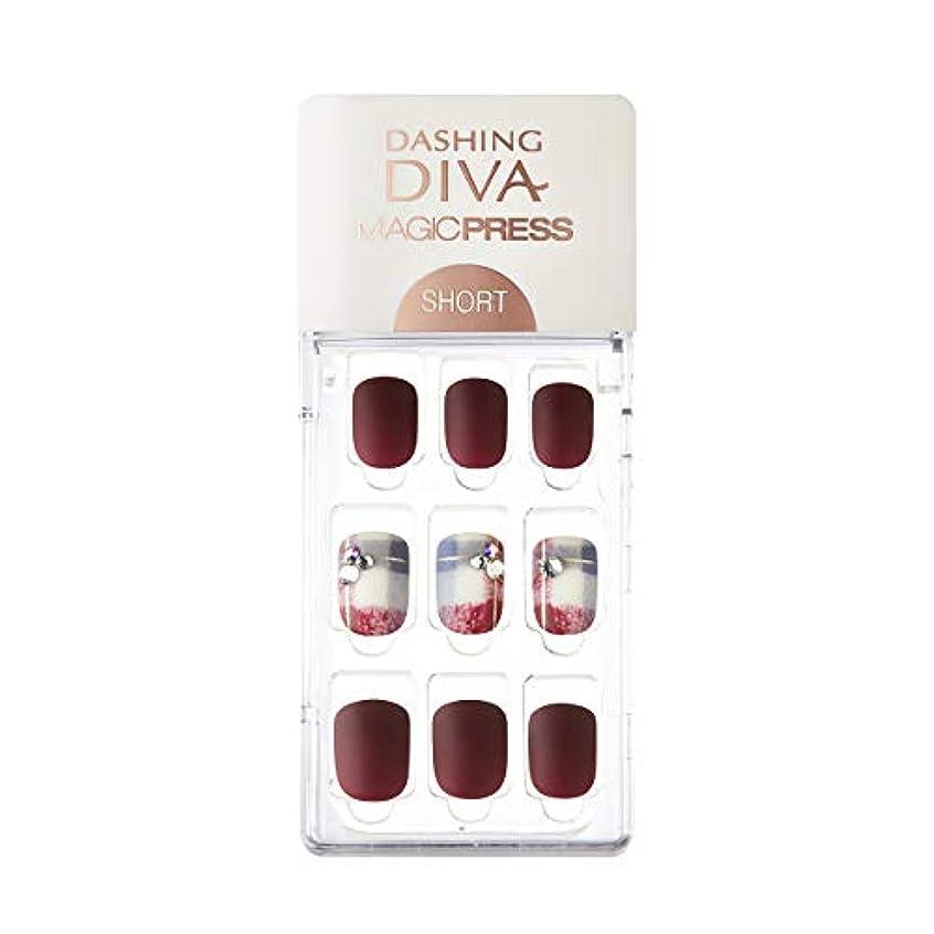 財団上にステップダッシングディバ マジックプレス DASHING DIVA MagicPress MDR227SS-DURY+ オリジナルジェル ネイルチップ Vintage Burgundy