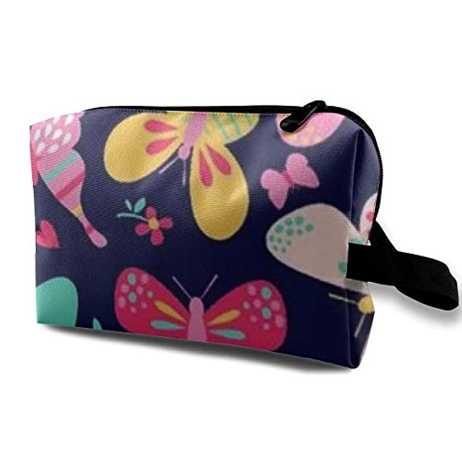 プラスチック酸っぱい昼食Colorful Butterfly 収納ポーチ 化粧ポーチ 大容量 軽量 耐久性 ハンドル付持ち運び便利。入れ 自宅?出張?旅行?アウトドア撮影などに対応。メンズ レディース トラベルグッズ