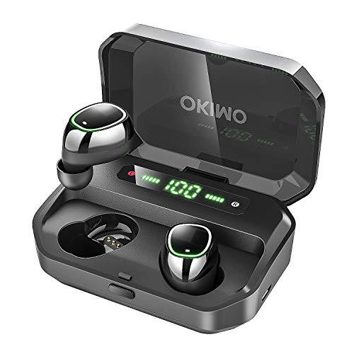 第2世代 3500mAh IPX7完全防水 OKIMO Bluetooth ワイヤレスイヤホン LEDディスプレイ Hi-Fi 高音質 最新Bluetooth5.0+EDR搭載 3Dステレオサウンド 完全ワイヤレス イヤホン 自動ペアリング ブルートゥース イヤホン AAC対応 左右分離型 Siri対応 音量調整可能 超大容量充電ケース付き 電池残量インジケーター付き iPhone/ipad/Android適用 (ブラック)