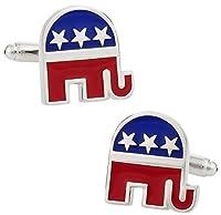 プレゼンテーションボックスと共和党の象のカフスボタン