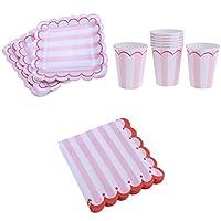 Fenteer 使い捨て食器 ペーパー 紙製食器 ペーパープレート 紙コップ ペーパーナプキン 誕生日 パーティー 2色選べる - ピンク