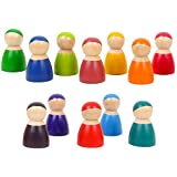 Agirlgle Toddler Wooden Toys 12 Rainbow Friends Wooden Peg Dolls Bodies Baby Kids Wooden Pretend Play for Toddlers People Fig