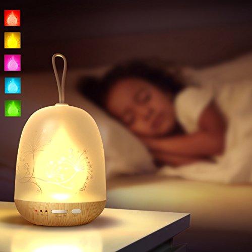 多彩LEDランプ ナイトライト タイマーモード機能付き 雰囲気 常夜灯 ベッドサイドランプ USB充電式 電池付きベッドランプ 寝起きライト 授乳ライト「RGB 256色調節可能 タイマー付き」 (多彩の炎)